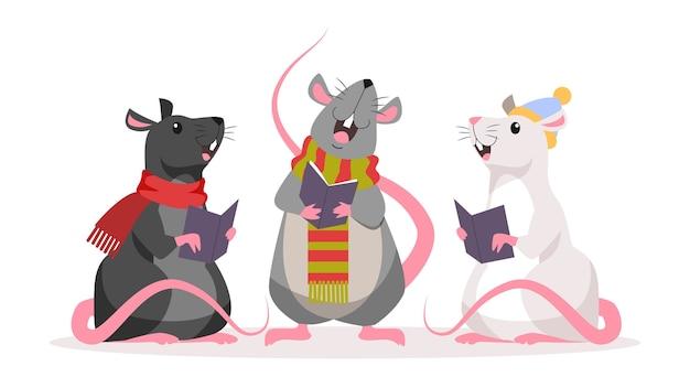 Linda rata de navidad. personaje animal con sombrero de santa claus. 2020 año de la rata. ilustración con estilo