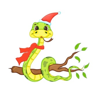 Linda serpiente de navidad. personaje animado