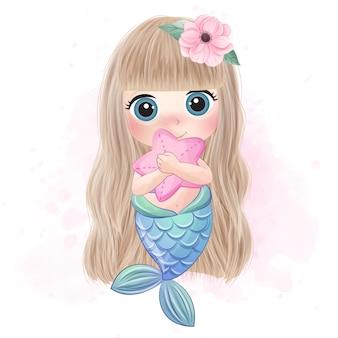 Linda sirena abrazando una estrella de mar