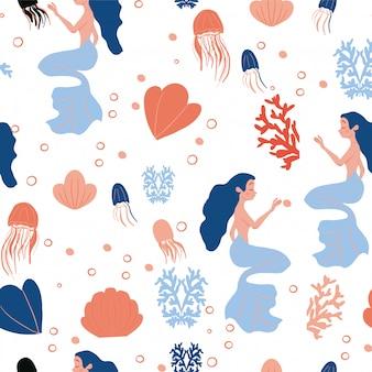 Linda sirena con cabello colorido y otros elementos submarinos