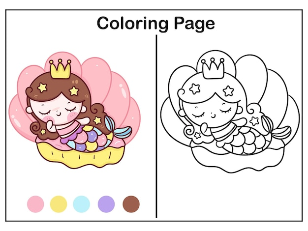 Linda sirena para colorear princesa abrazo unicornio en concha dulce sueño animal kawaii