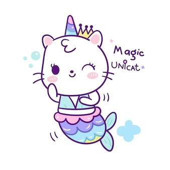 Linda sirena gato en estilo de dibujos animados de unicornio doodle