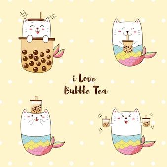 Linda sirena gato con té de leche con burbujas