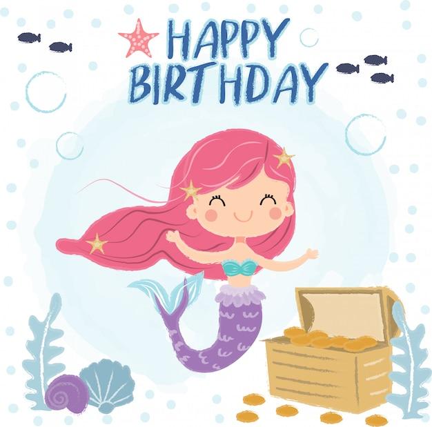 Linda sirena bajo el mar para tarjeta de felicitación de cumpleaños