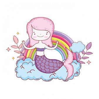 Linda sirena con nubes y arcoiris