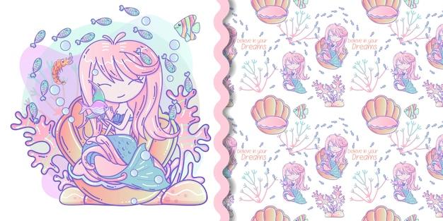 Linda sirena con pez pequeño vector ilustración y patrones sin fisuras