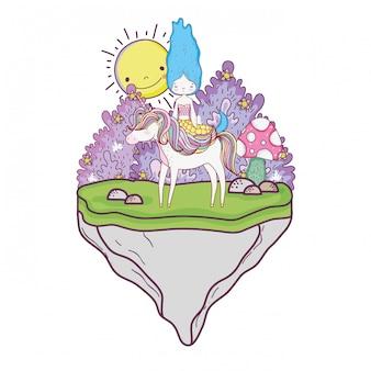 Linda sirena con unicornio en el paisaje.
