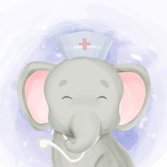 Linda sonrisa doctor bebé elefante
