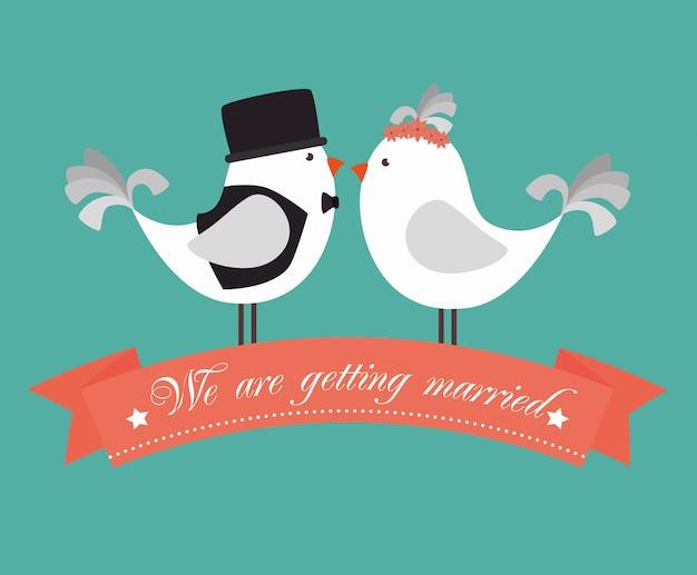 Linda tarjeta de boda
