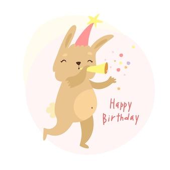 Linda tarjeta de cumpleaños de conejito