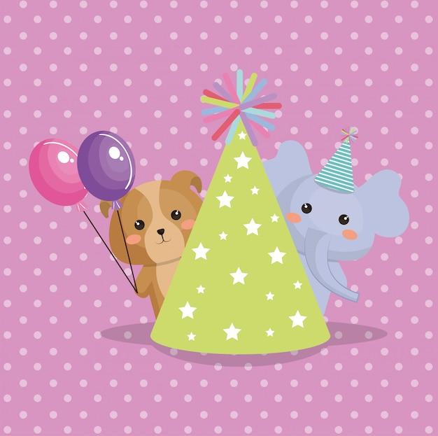 Linda tarjeta de cumpleaños kawaii dulce de elefante y perrito