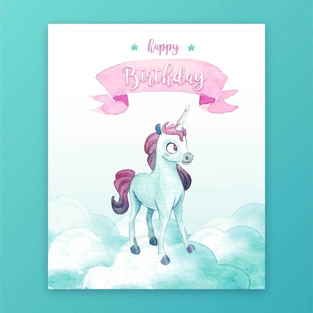 Linda tarjeta de cumpleaños con unicornio