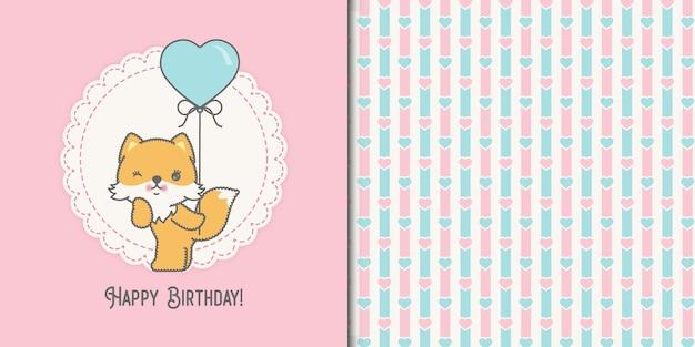 Linda tarjeta de cumpleaños de zorro bebé kawaii y patrones sin fisuras
