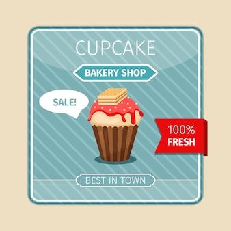 Linda tarjeta de cupcake rojo con oblea