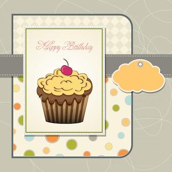Linda tarjeta de feliz cumpleaños con magdalena