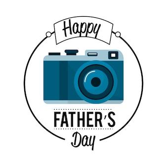 Linda tarjeta del día del padre con la decoración de la cámara