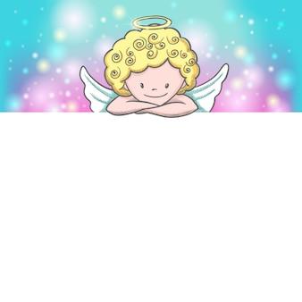 Linda tarjeta del día de san valentín con dibujo cupido