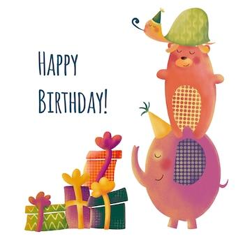 Linda tarjeta de felicitación de cumpleaños con animales de dibujos animados