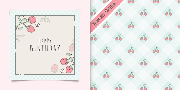 Linda tarjeta de felicitación de cumpleaños de fresas