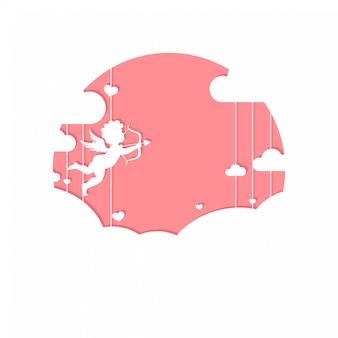 Linda tarjeta de felicitación del día de san valentín con cupido en las nubes