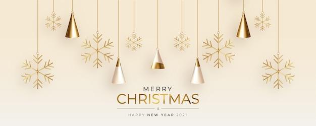 Linda tarjeta de felicitación de navidad con composición realista de árbol de navidad 3d