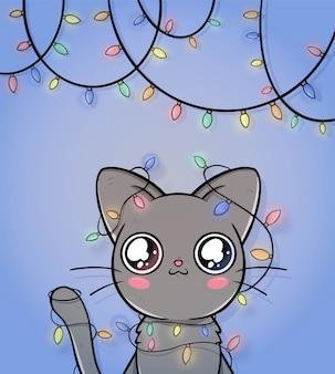 Linda tarjeta de felicitación de navidad con gato