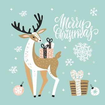 Linda tarjeta de felicitación de navidad con renos y cajas de regalo.