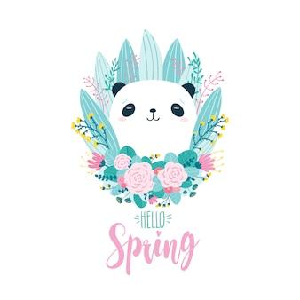 Linda tarjeta de felicitación con un oso panda en flores y hierbas i
