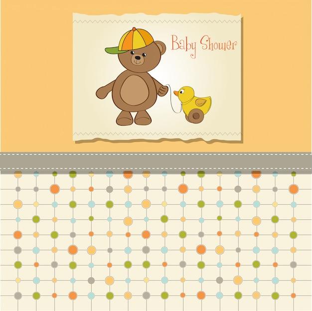 Linda tarjeta de felicitación con oso de peluche niño