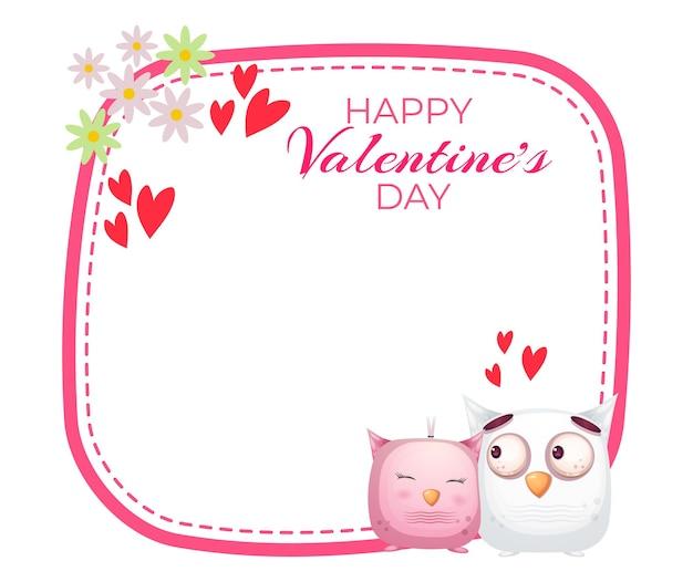 Linda tarjeta de felicitación y pareja de búhos para el día de san valentín