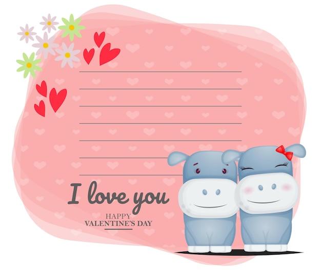Linda tarjeta de felicitación y pareja de hipopótamos para el día de san valentín