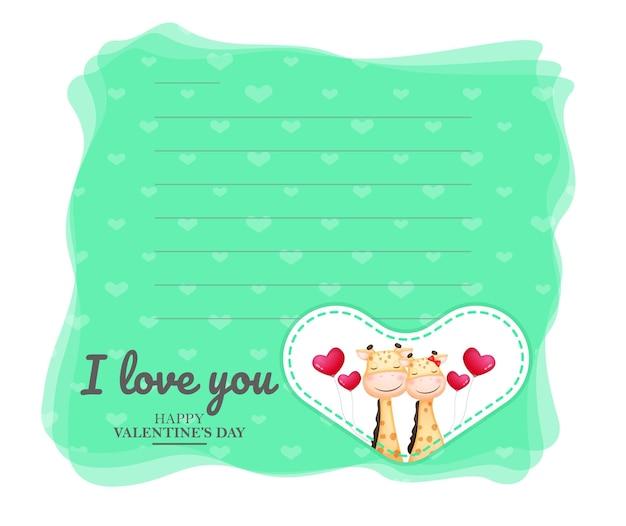 Linda tarjeta de felicitación y pareja de jirafas para el día de san valentín
