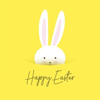 Linda tarjeta de felicitación de pascua feliz con diseño de conejito