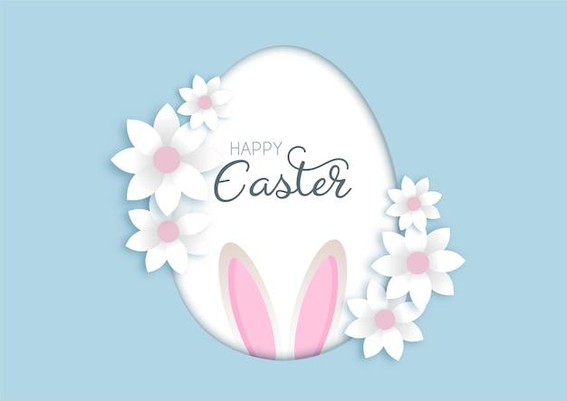 Linda tarjeta de felicitación de pascua con flores y orejas de conejo