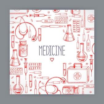 Linda tarjeta de felicitación con suministros médicos. ilustración dibujada a mano