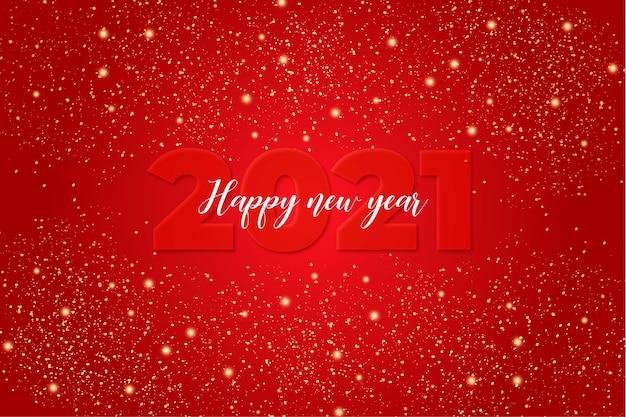 Linda tarjeta de feliz año nuevo con fondo rojo con luces
