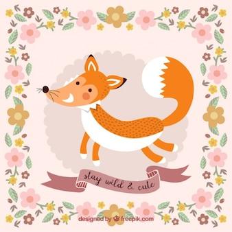 Linda tarjeta floral de simpático zorrito