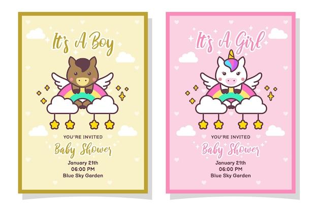 Linda tarjeta de invitación de baby shower para niño y niña con caballo