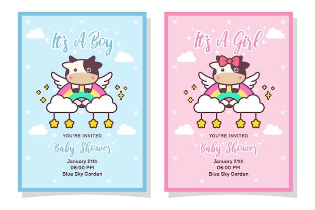 Linda tarjeta de invitación de baby shower para niño y niña con vaca