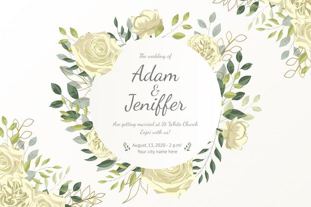 Linda tarjeta de marco floral con flores