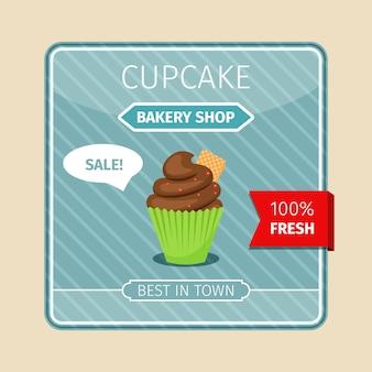 Linda tarjeta marrón cupcake con gaufre