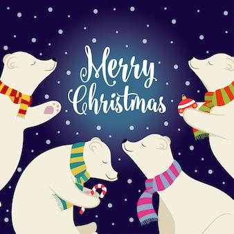 Linda tarjeta de navidad de diseño plano con osos polares y deseos.