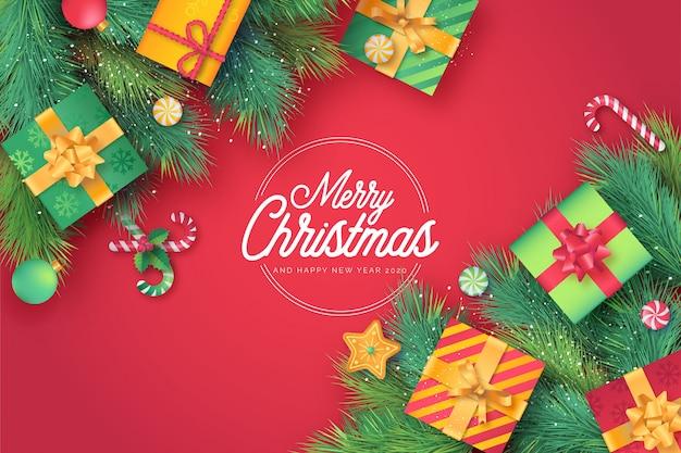 Linda tarjeta de navidad en fondo rojo
