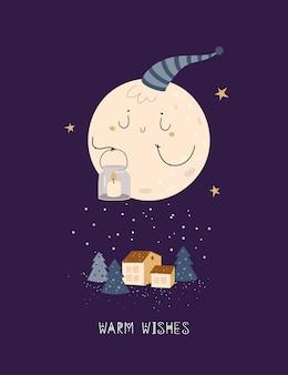 Linda tarjeta de navidad con luna de dibujos animados y casa en bosque de hadas
