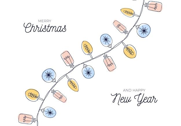 Linda tarjeta de navidad vintage con fondo de guirnaldas de bombilla dibujada a mano.