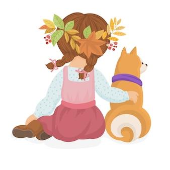 Linda tarjeta de otoño con una niña y un perro