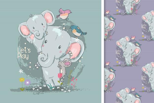 Linda tarjeta pequeña elefante y patrones sin fisuras