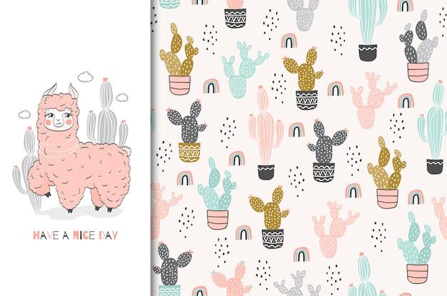 Linda tarjeta de personaje rosa lama y conjunto de ilustración dibujado a mano de patrones sin fisuras