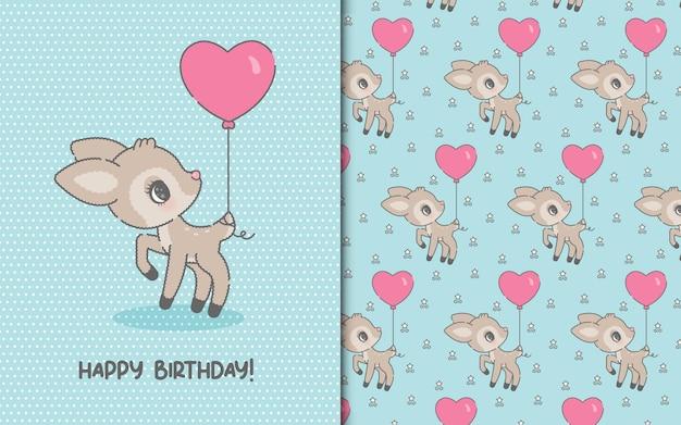 Linda tarjeta de plantilla de feliz cumpleaños con ciervos kawaii y patrones sin fisuras