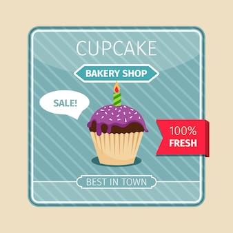 Linda tarjeta púrpura cupcake con vela